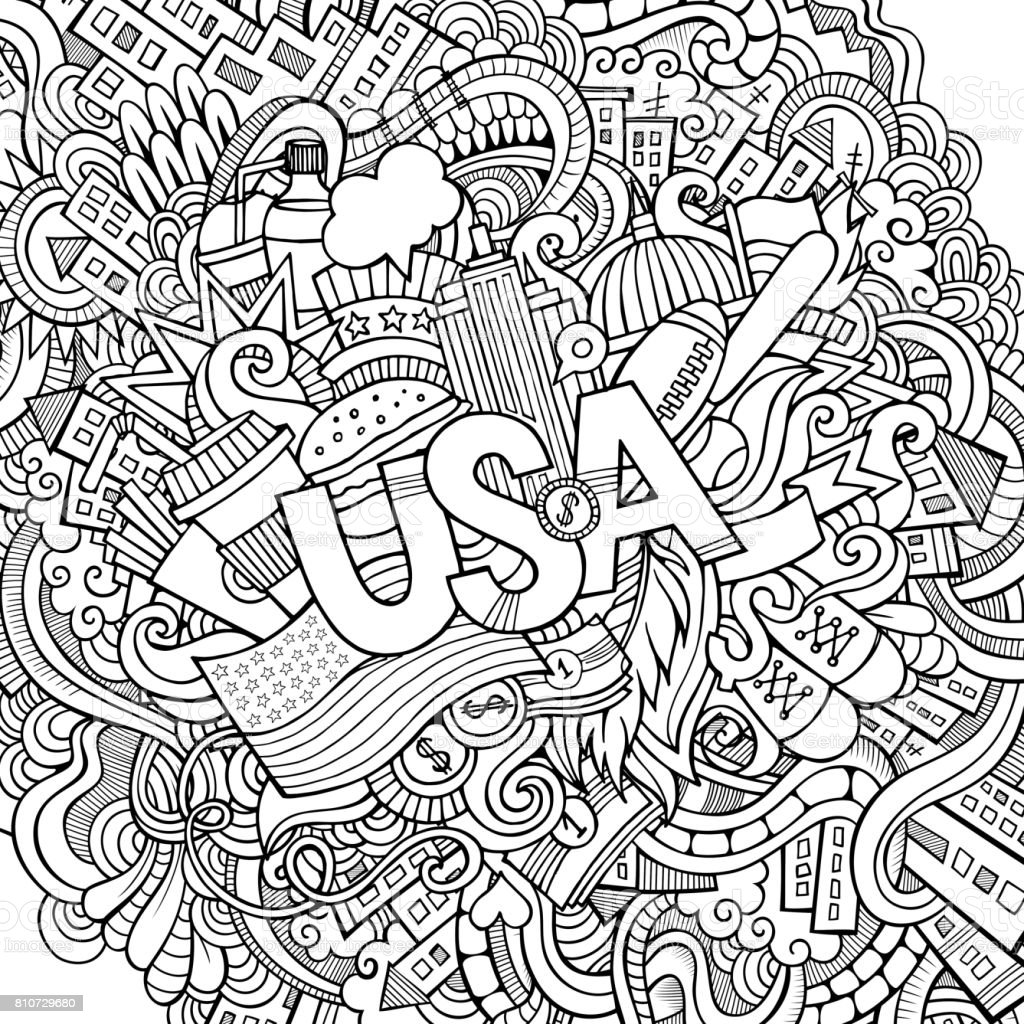 USA hand lettering and doodles elements background vector art illustration
