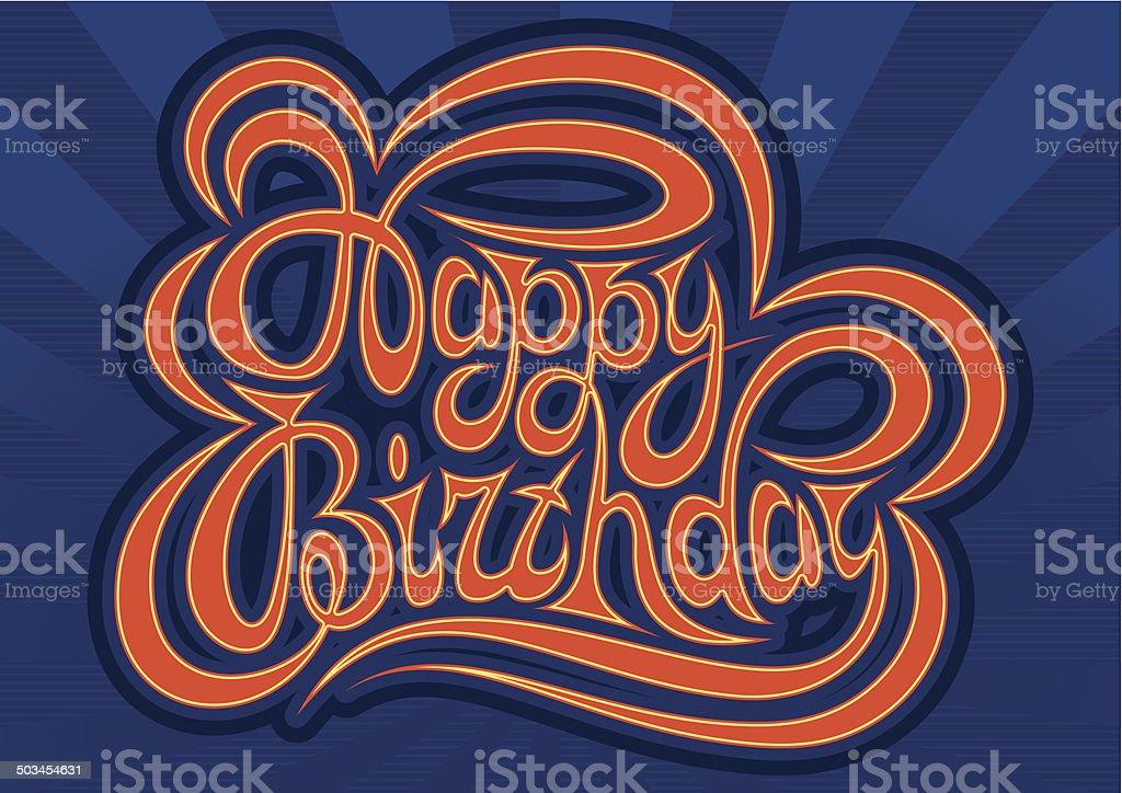 HAPPY BIRTHDAY hand lettering - handmade calligraphy royalty-free stock vector art