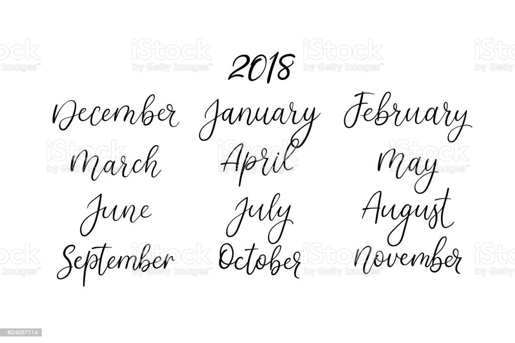 Hand lettering names of months modern calligraphy
