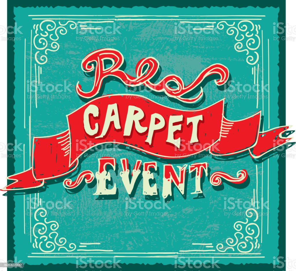 hand lettering red and turquoise carpet event invitation template hand lettering red and turquoise carpet event invitation template royalty stock vector art