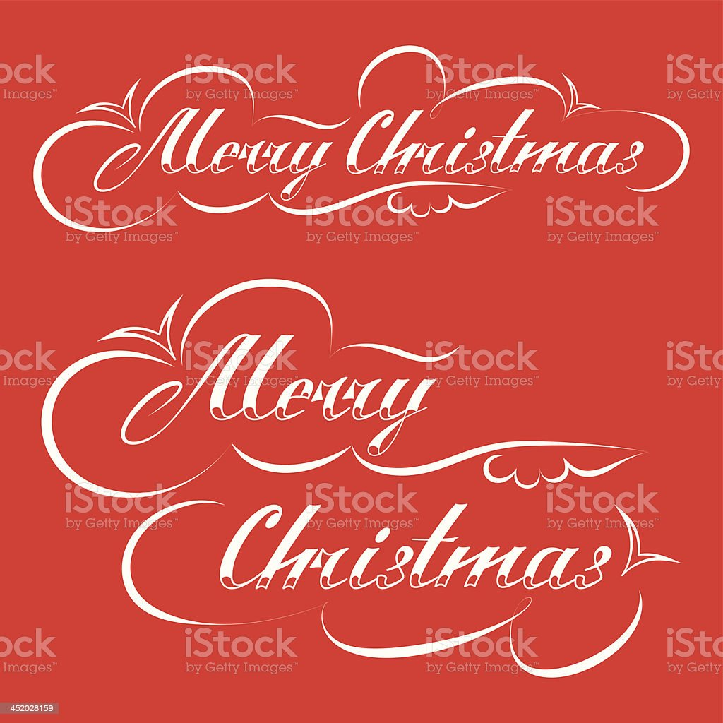MERRY CHRISTMAS hand lettering royalty-free stock vector art