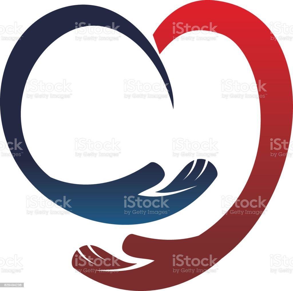 Hand Love vector art illustration