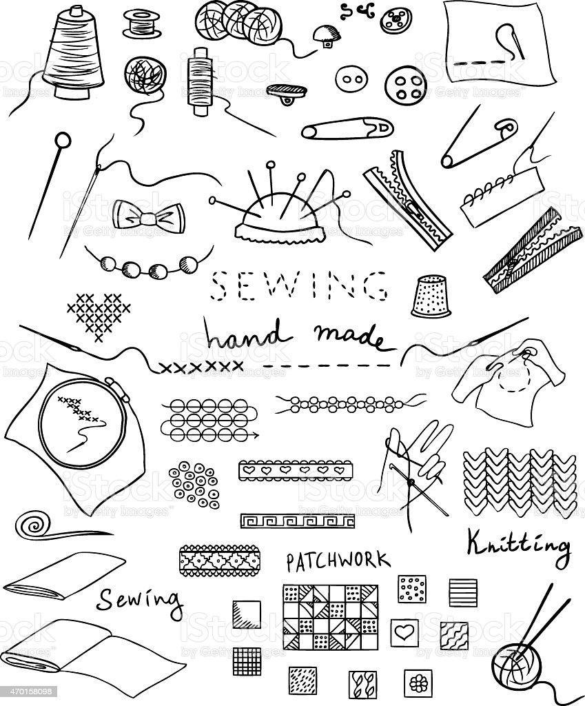 hand made and needlework vector set vector art illustration