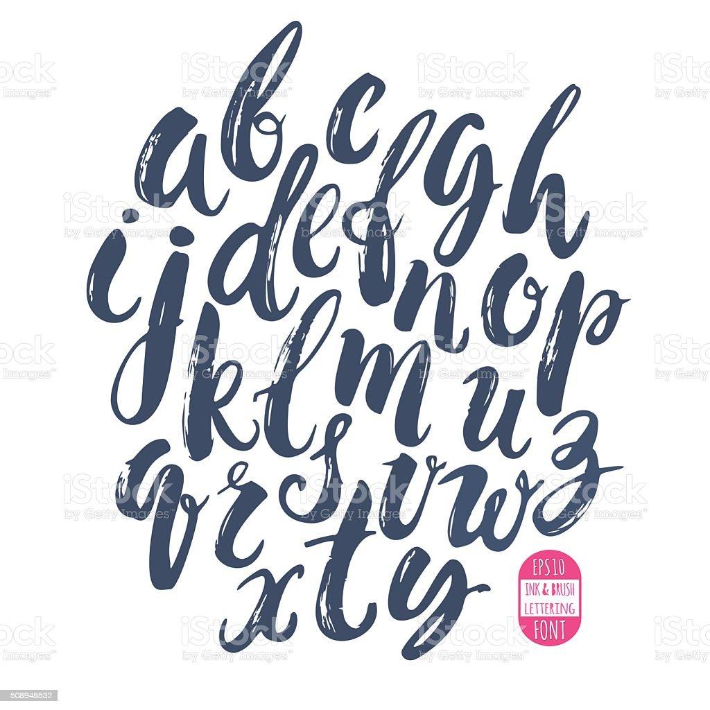 Hand made brush and ink typeface. Handwritten retro textured gru vector art illustration