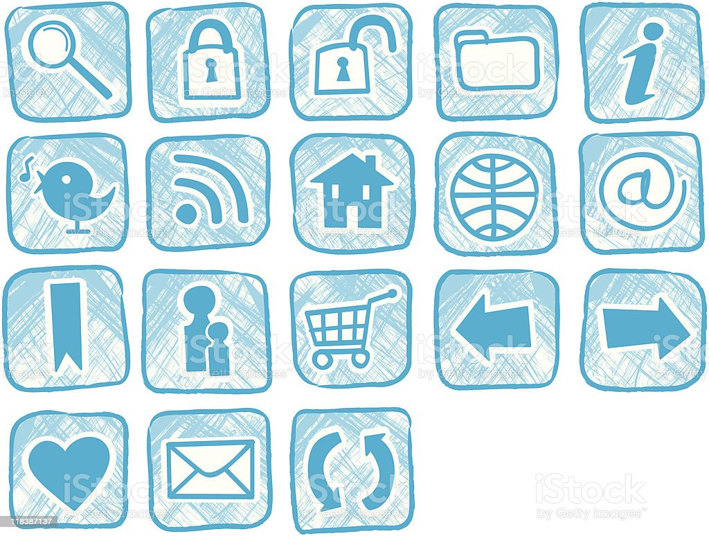 Hand made icon set royalty-free stock vector art
