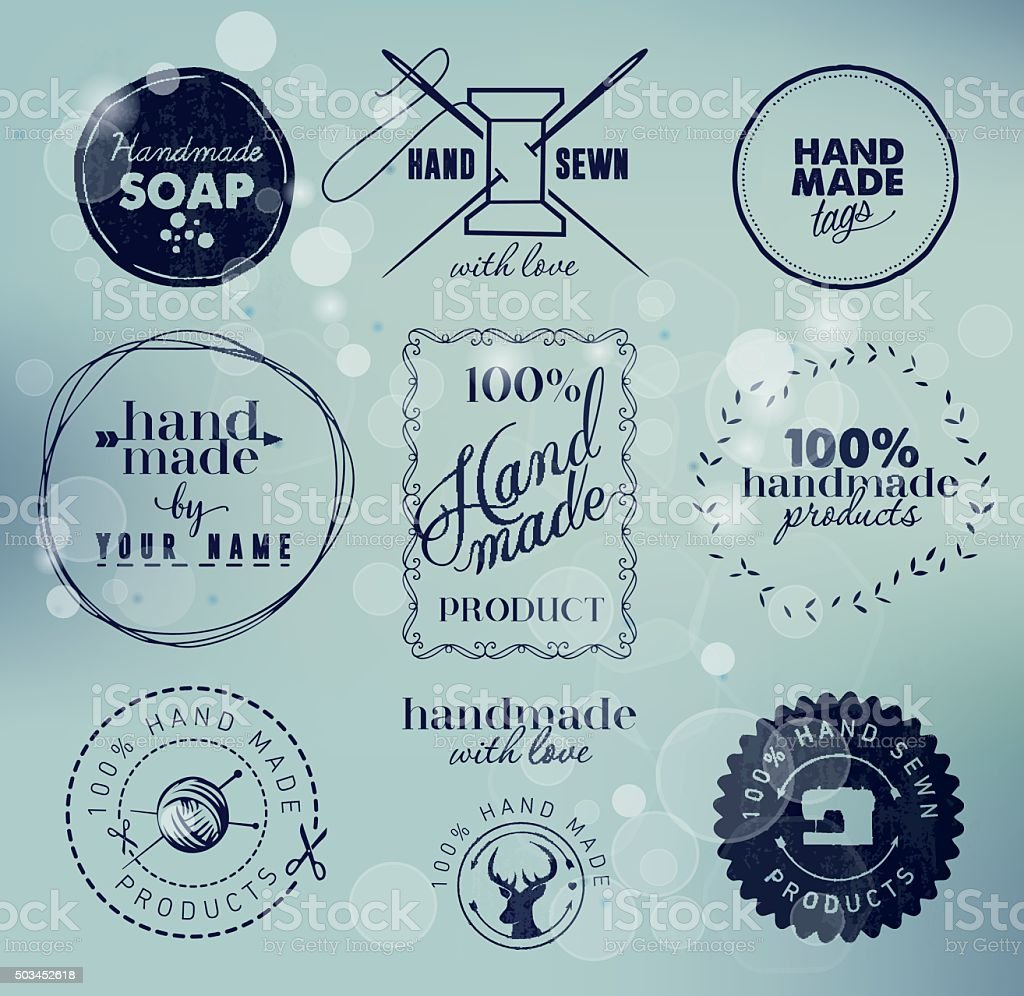 Hand Made Labels, Badges and Design Elements in Vintage Style vector art illustration