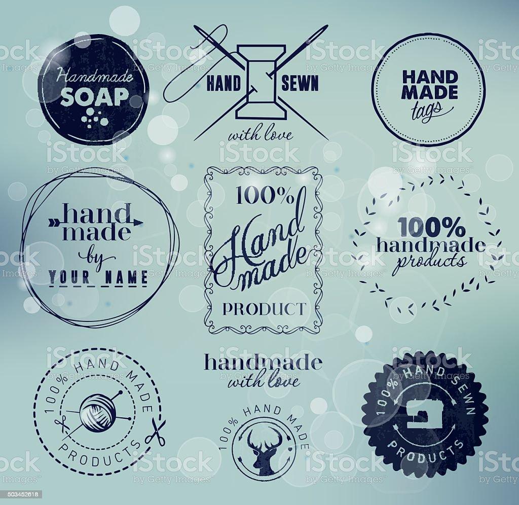 Hand Made Labels, Badges and Design Elements in Vintage Style vector art illustration