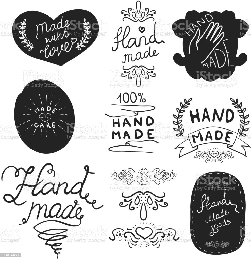 hand made labels template. vector art illustration