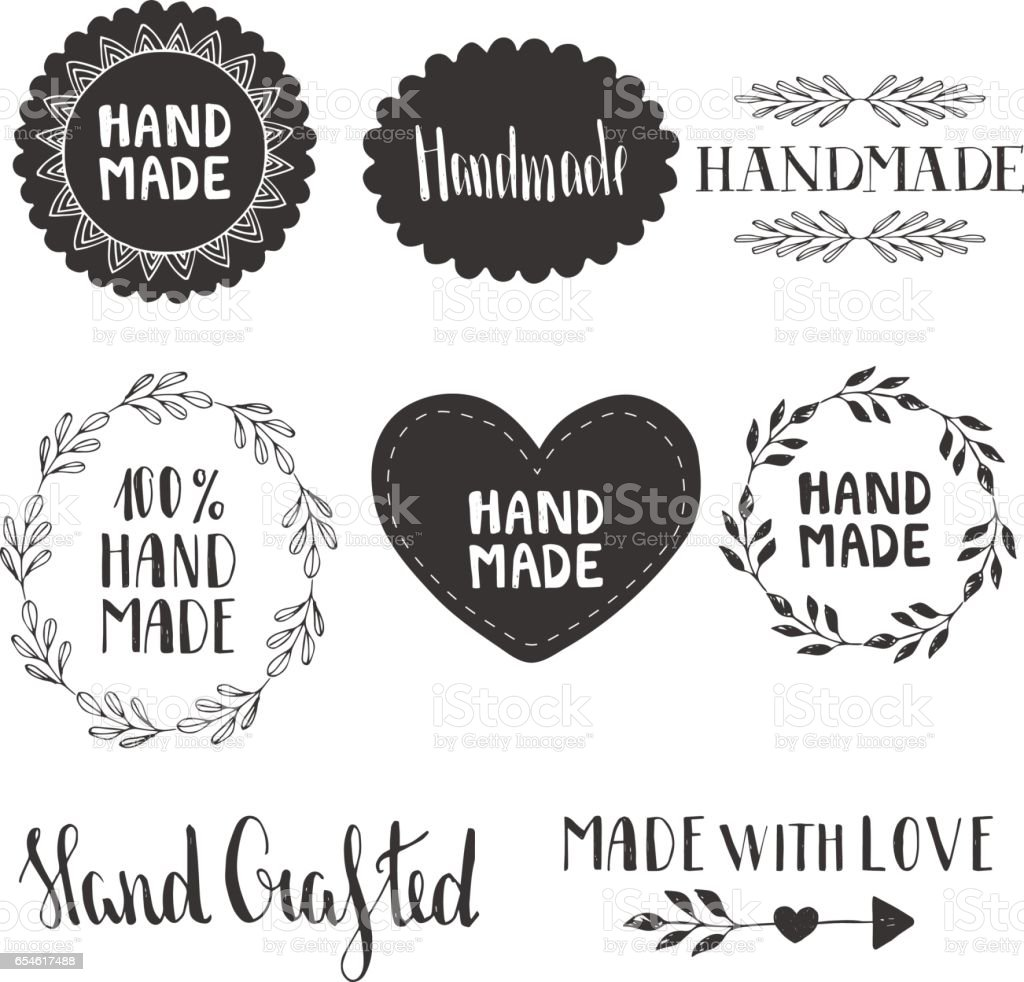 Hand made labels. Vector. Hand drawn. vector art illustration