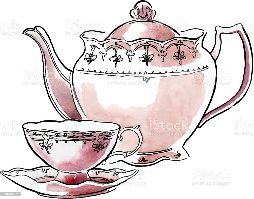 Hand made sketch of tea sets. Vector illustration. vector art illustration