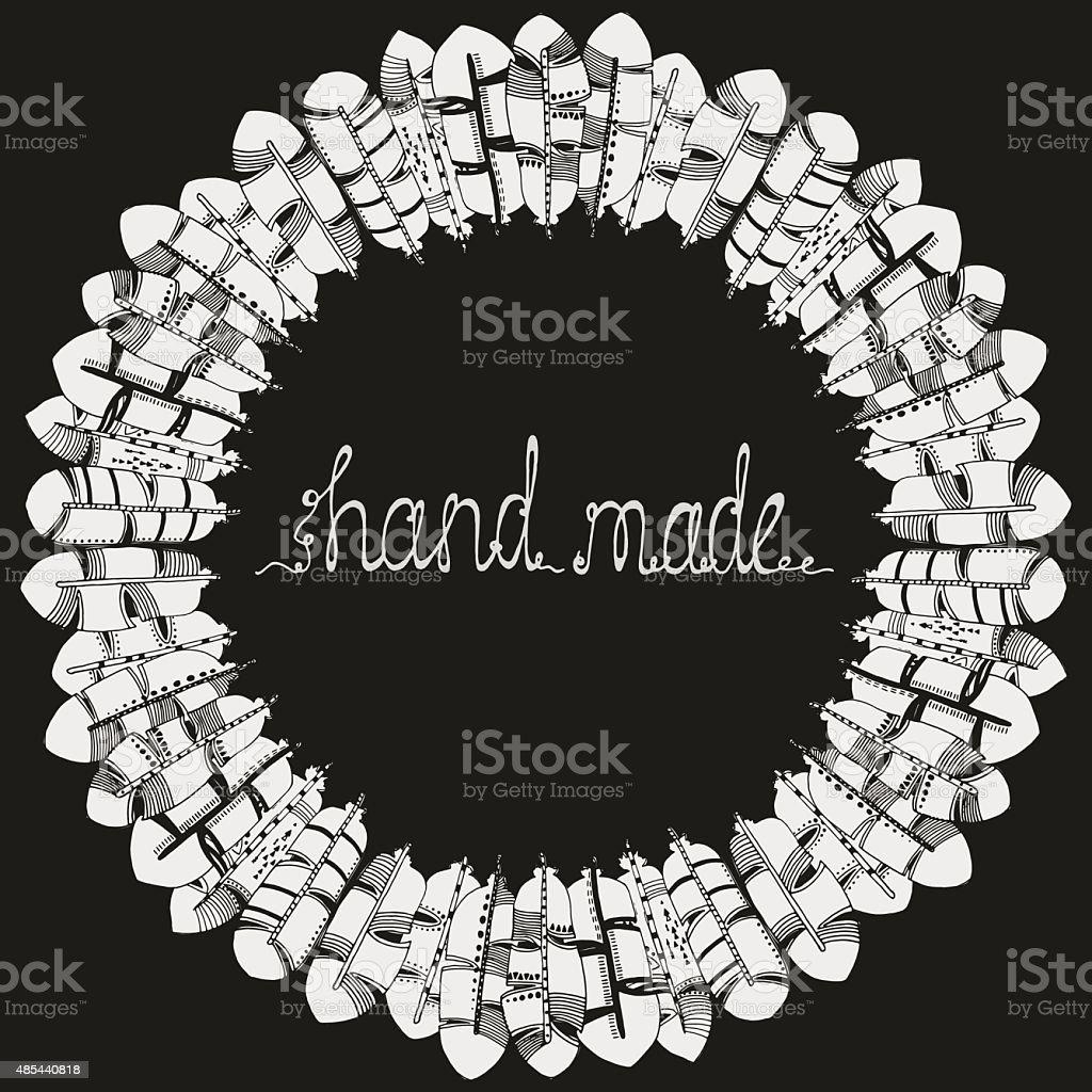 'Hand made' text. wreath. Feathers. vector art illustration