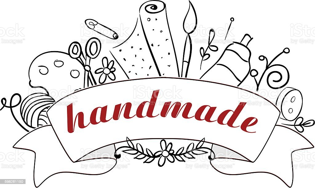Hand made tools banner vector art illustration