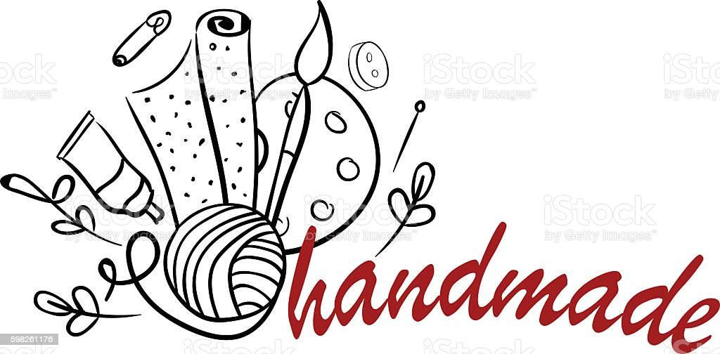 Hand made tools logo vector art illustration