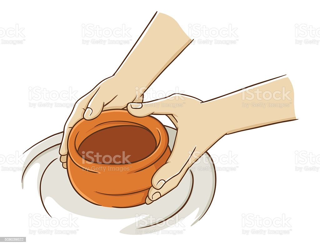 Hand Making Pottery From Clay vector art illustration