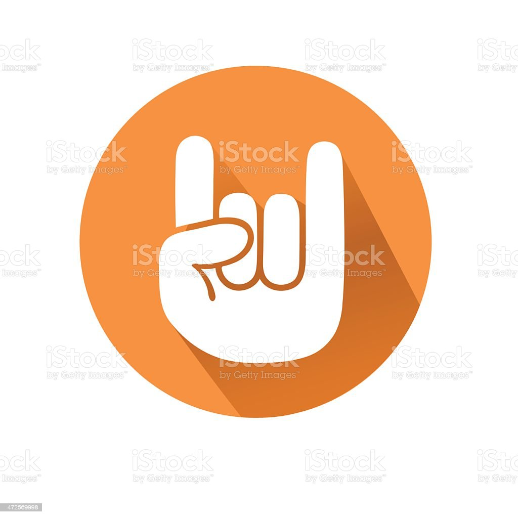 A hand making the rock on gesture in an orange circle  vector art illustration