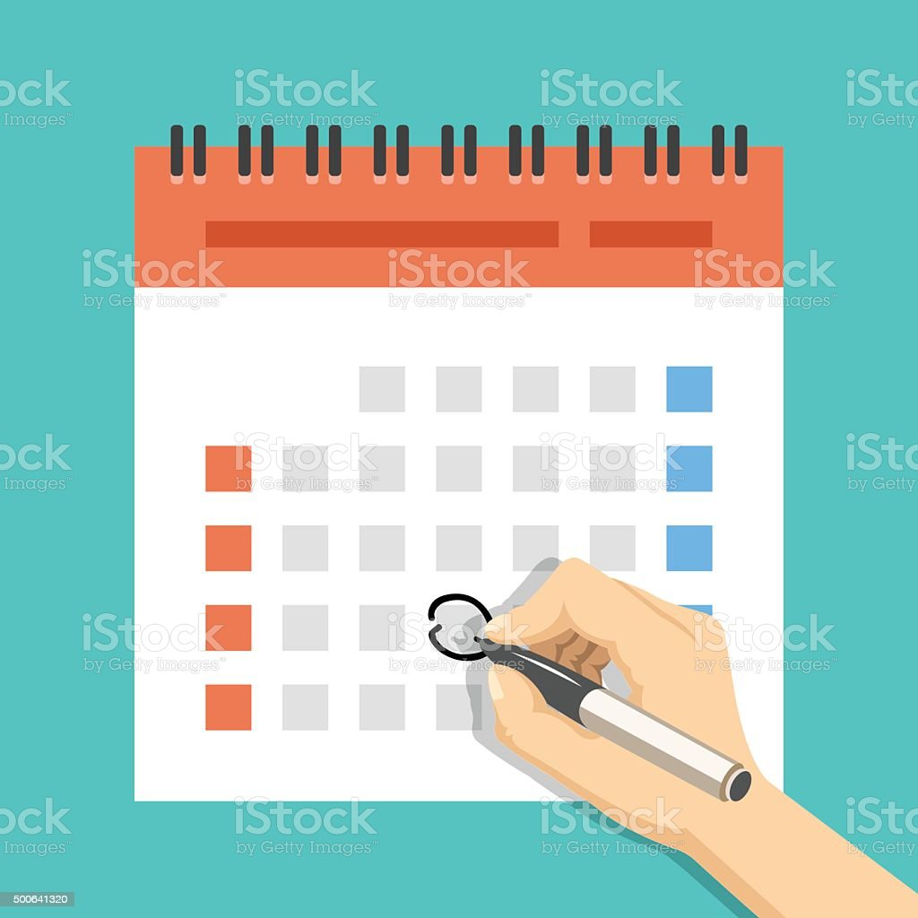 Hand mark calendar. US version with week started on Sunday vector art illustration