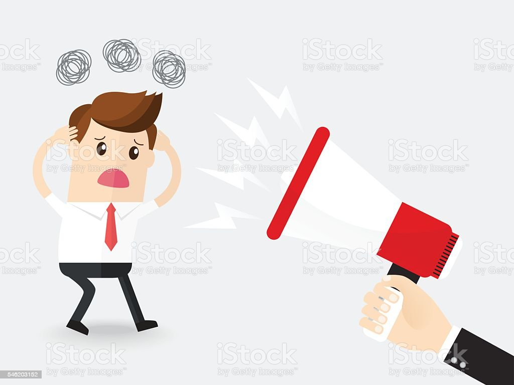hand of boss or businessman holding megaphone screaming to employee vector art illustration