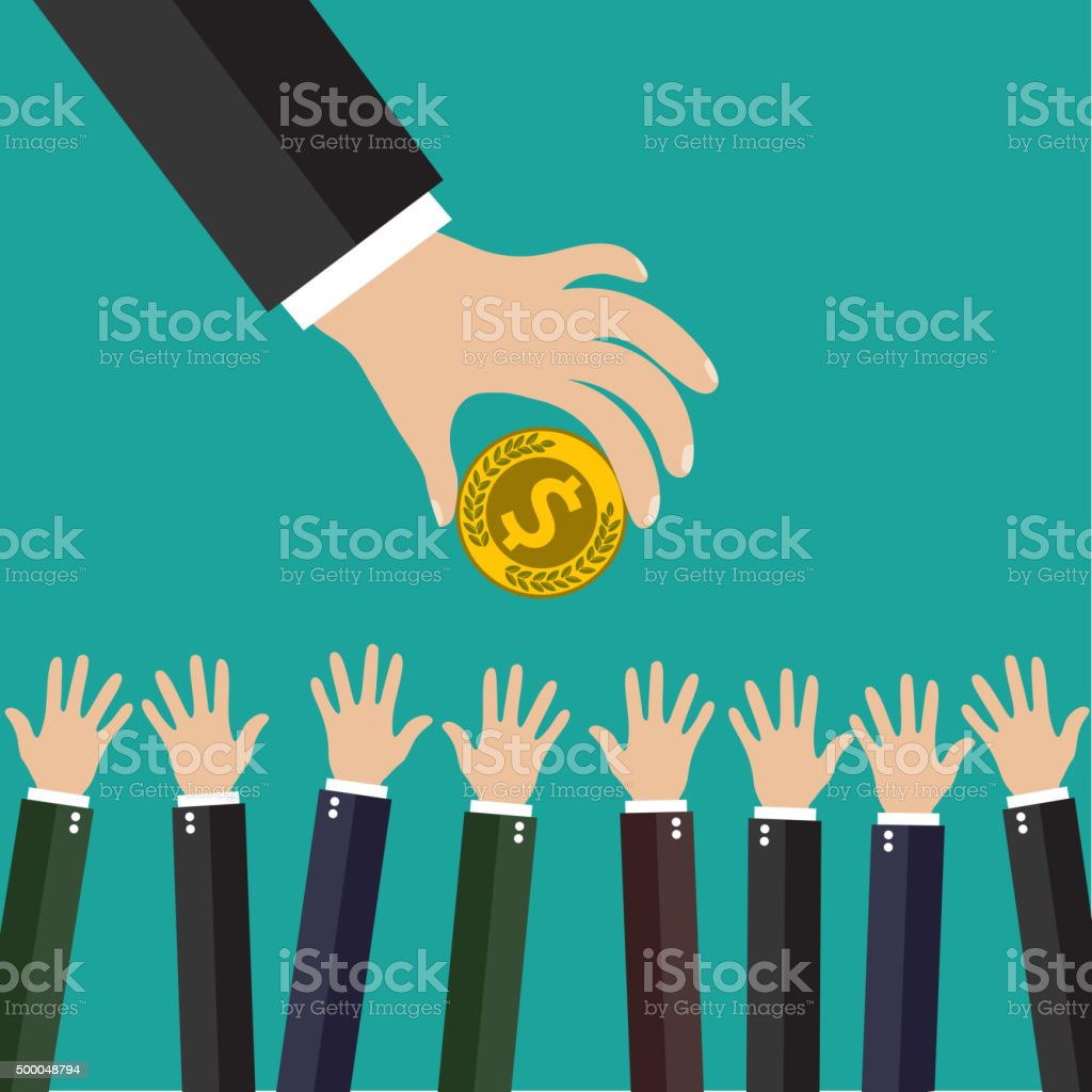 Hand of businessman giving money. vector art illustration