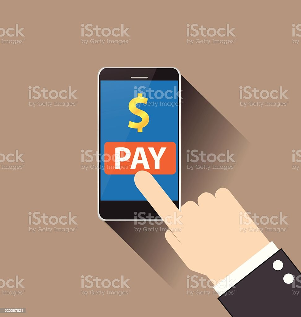 hand of businessman touching mobile payment vector vector art illustration