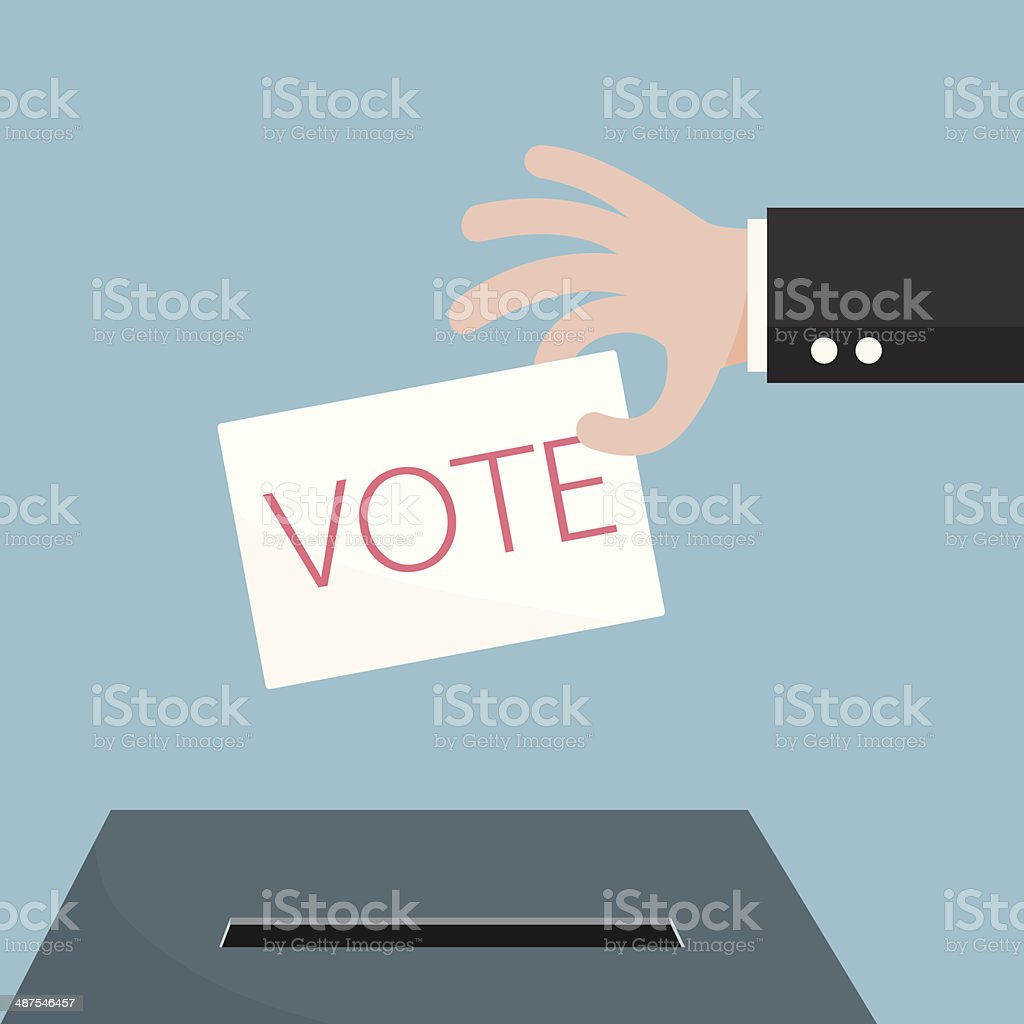 Hand of businessman vote ballot with box. Vector illustration. royalty-free stock vector art
