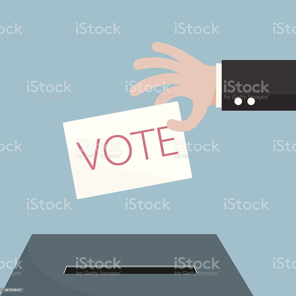 Hand of businessman vote ballot with box. Vector illustration. vector art illustration