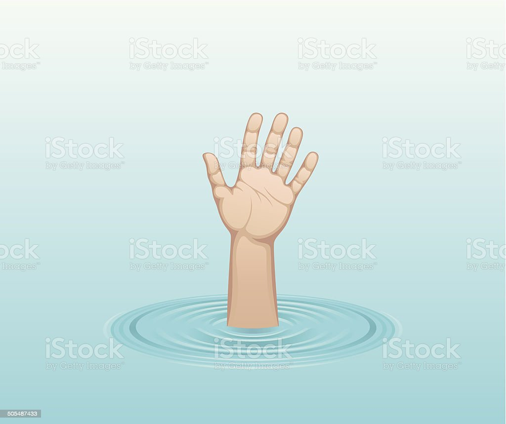 Hand of drowned vector art illustration