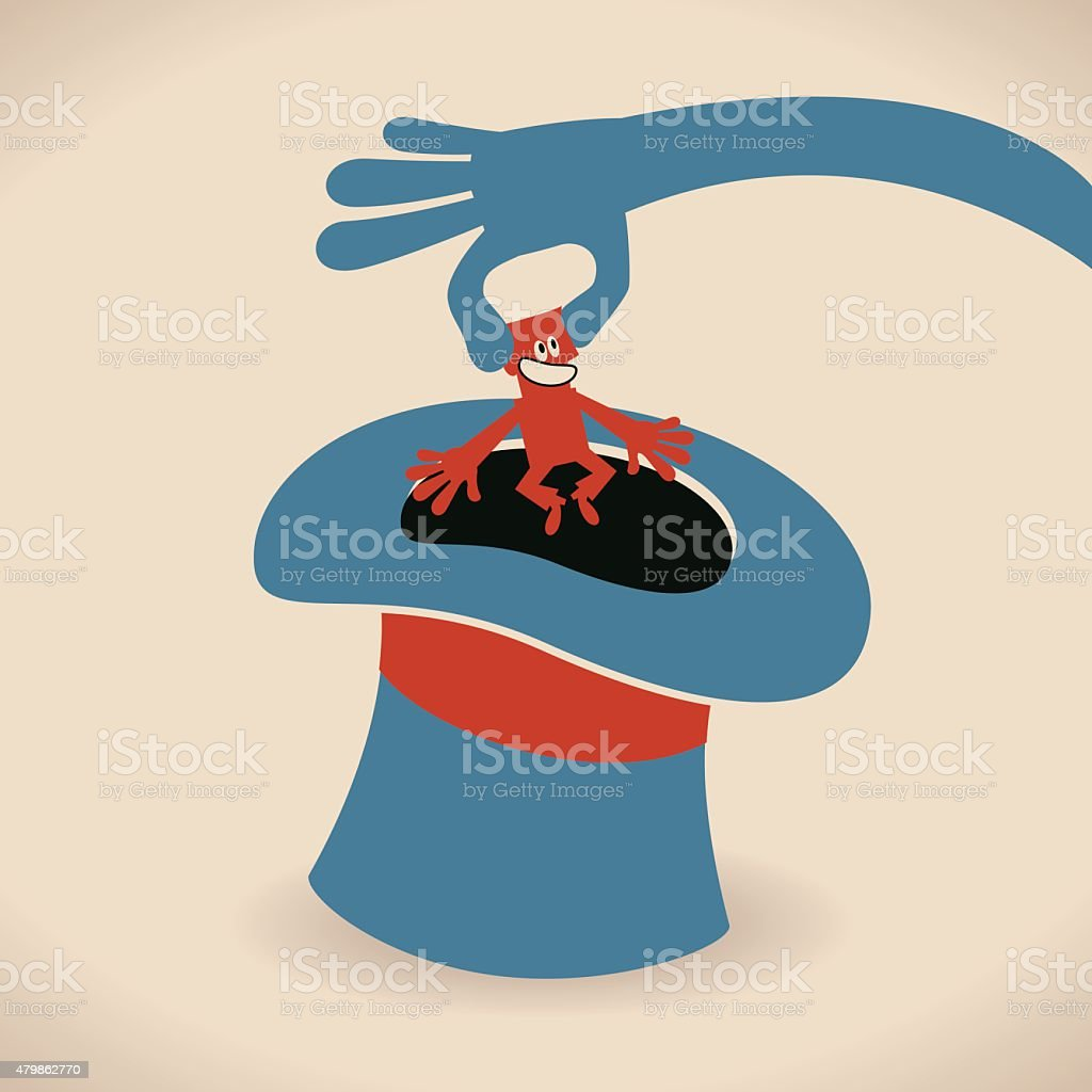 Hand of magician pulling businessman out of top hat trick vector art illustration