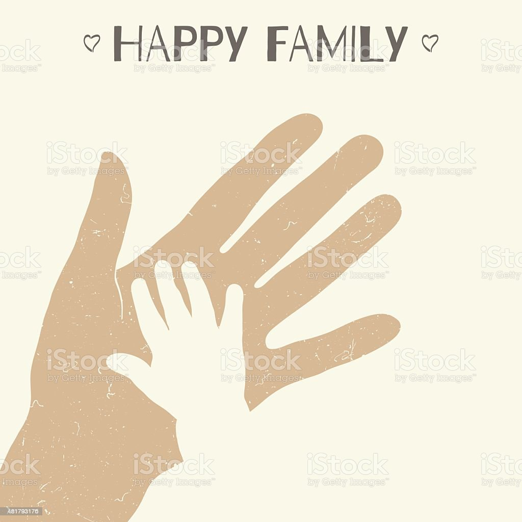 Hand of mother and child vector art illustration