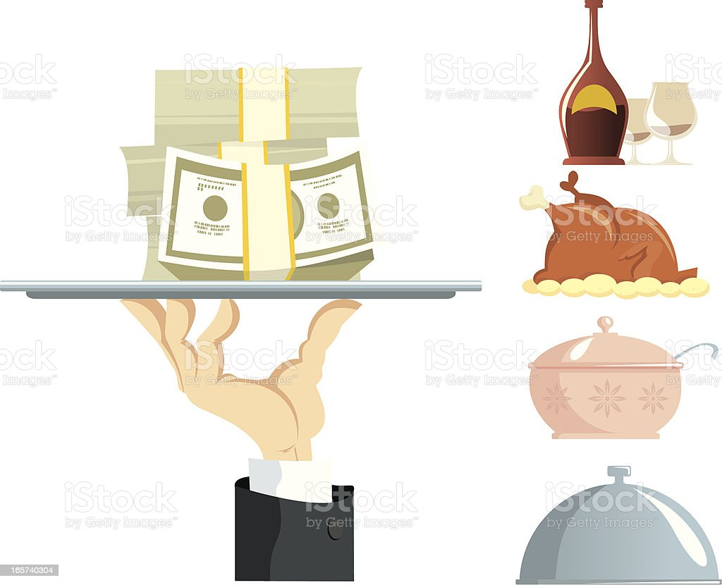 Hand of the Waiter with a tray royalty-free stock vector art