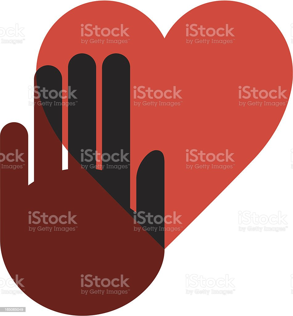 Hand on heart two royalty-free stock vector art