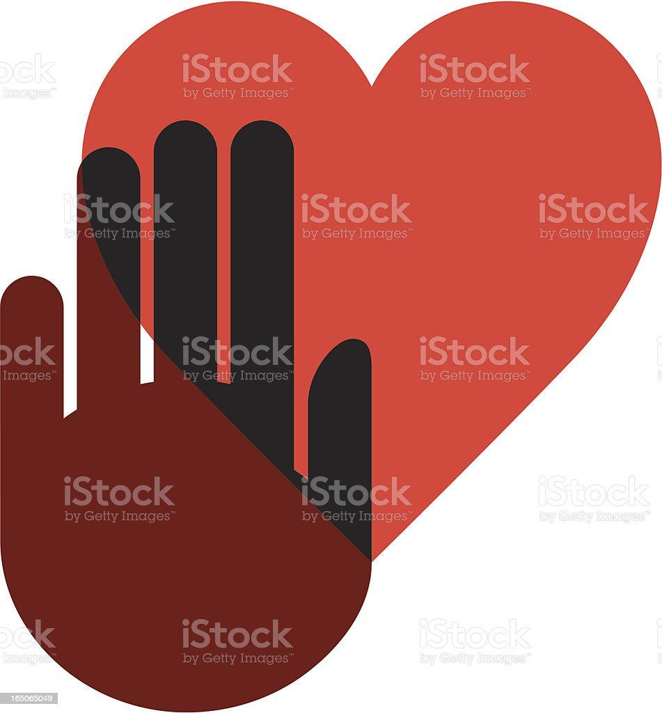 Hand on heart two vector art illustration