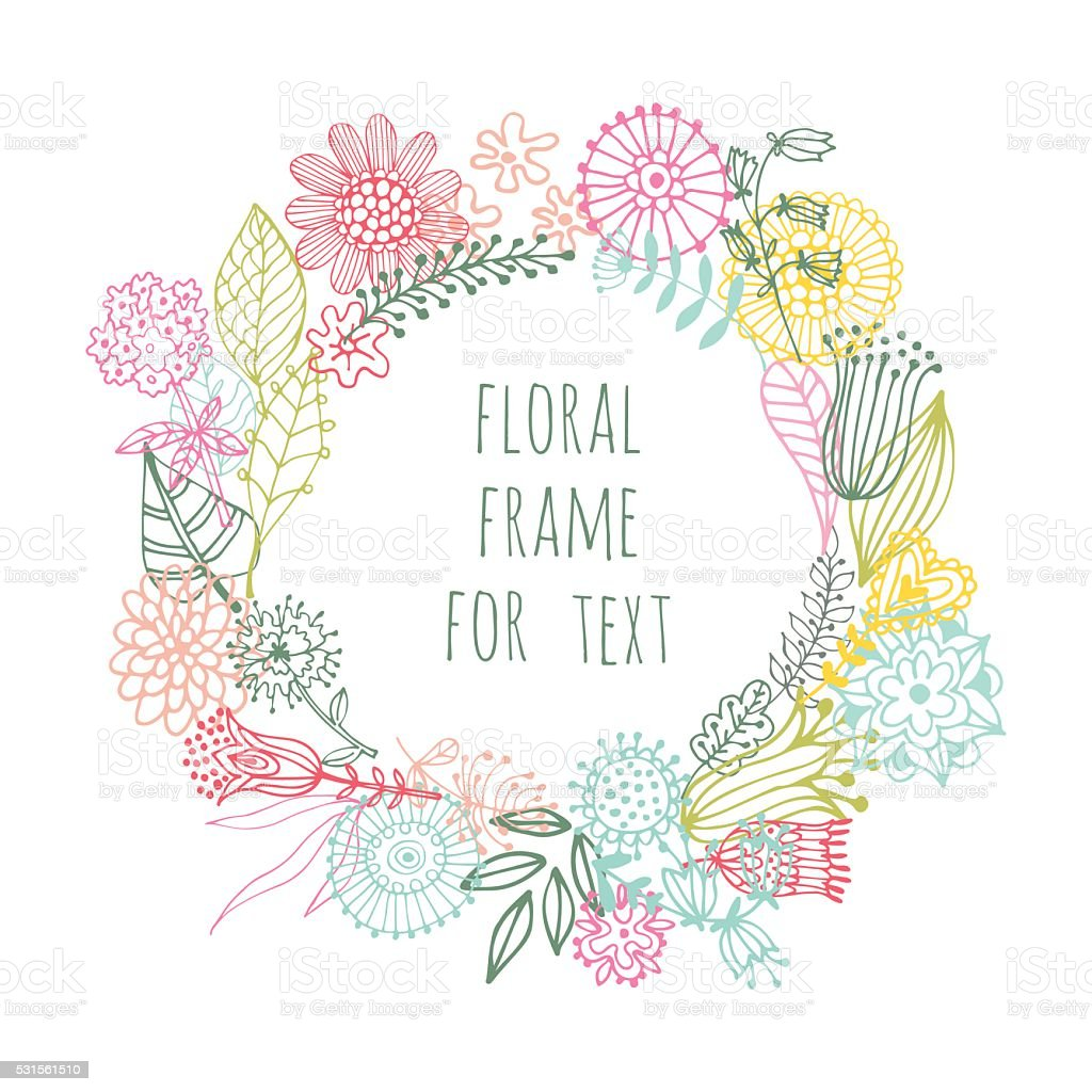 hand painted floral frame royalty-free stock vector art