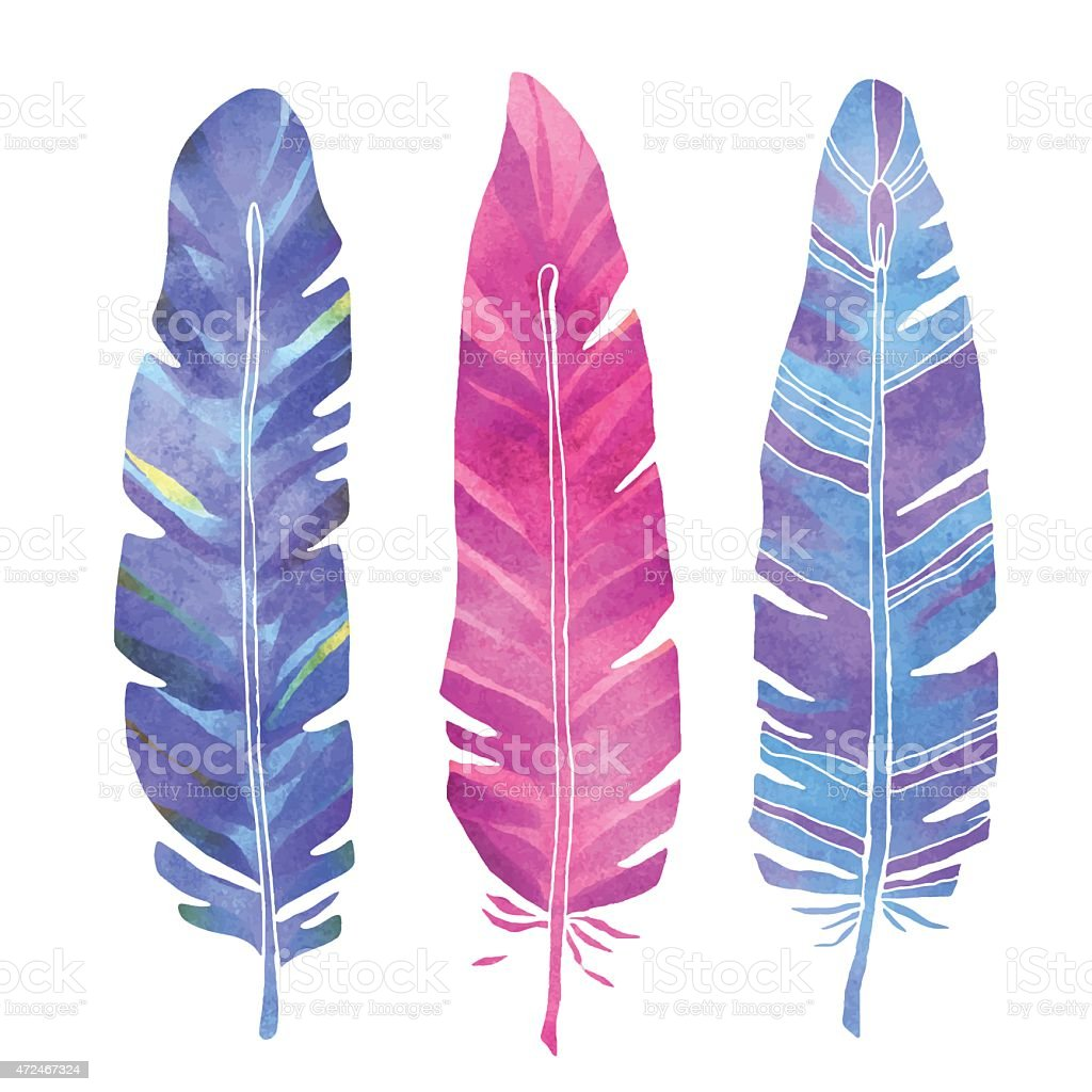 Hand painted watercolor feathers set vector art illustration