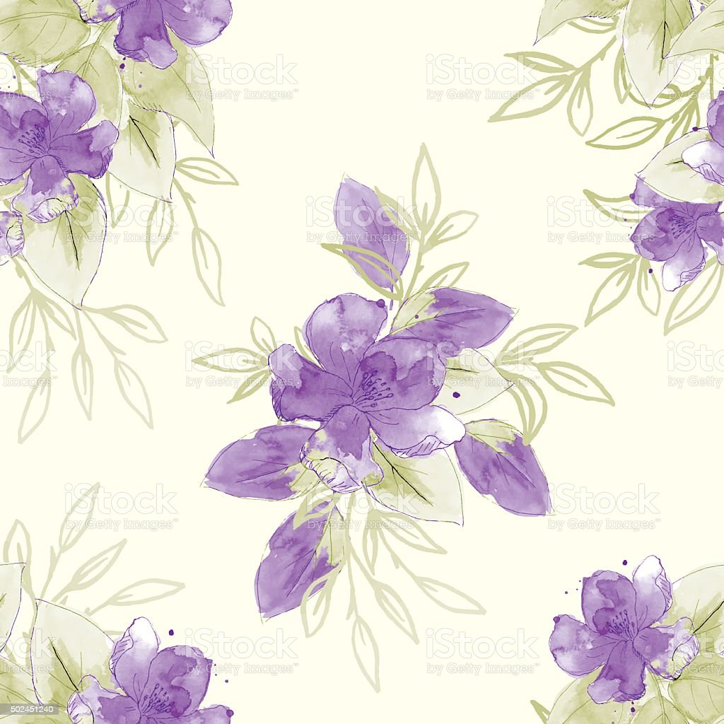 Hand Painted Watercolor Flowers Seamless Pattern vector art illustration