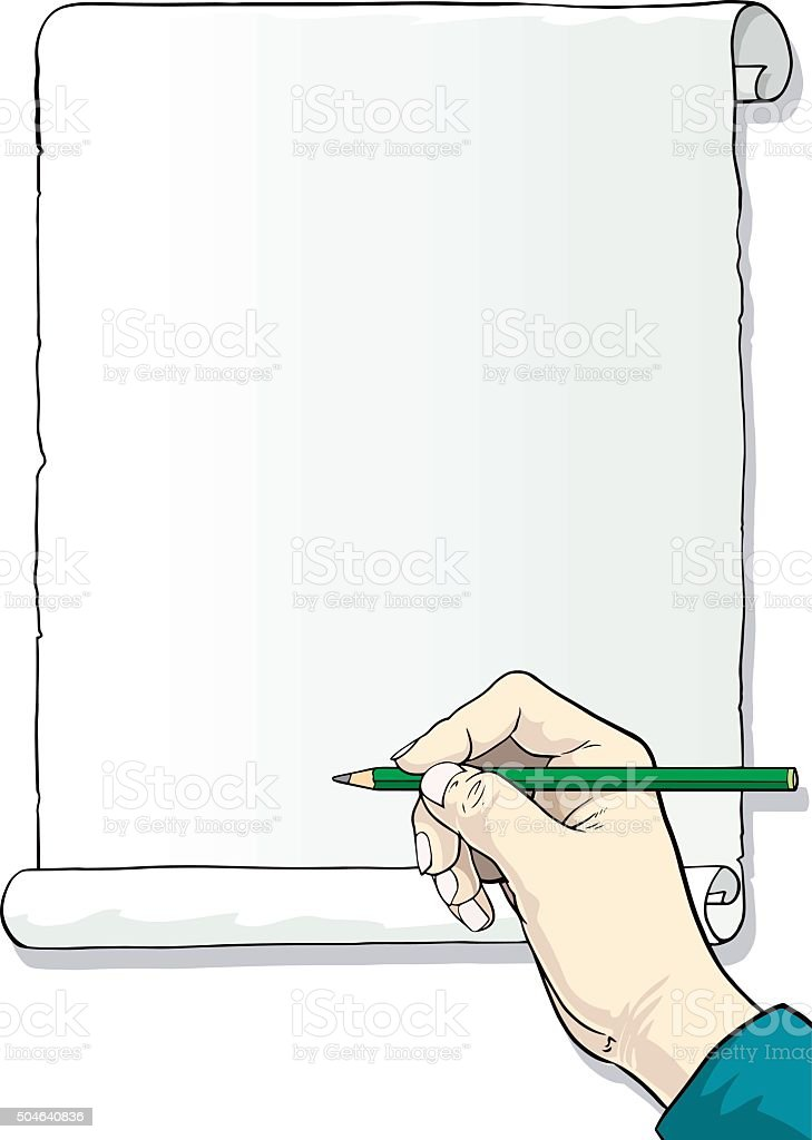 hand paper and pencil vector art illustration