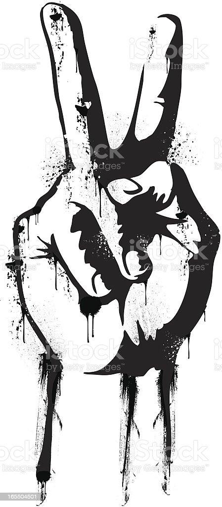 Hand peace sign vector art illustration