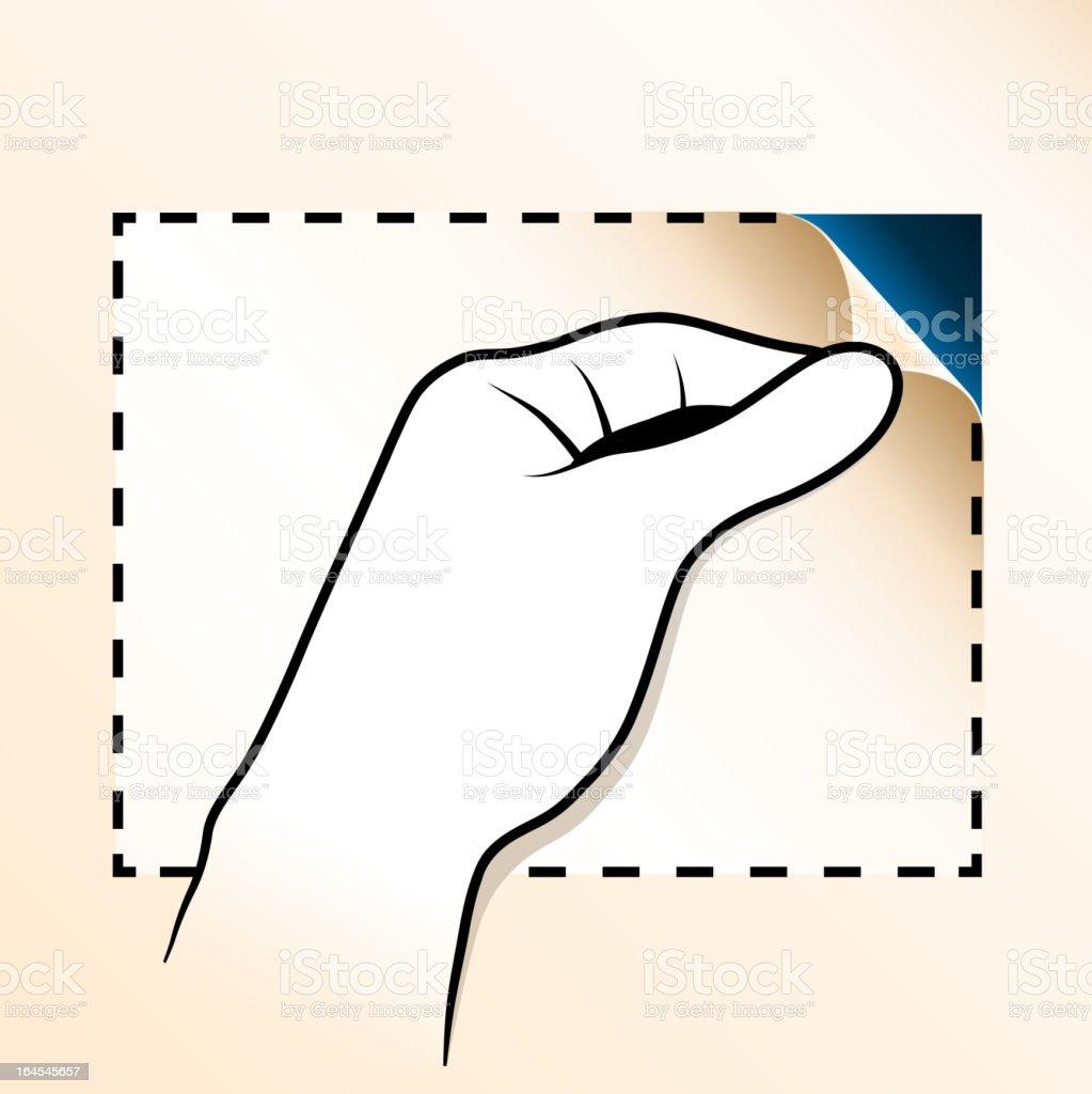 Hand Peeling Off Paper royalty-free stock vector art