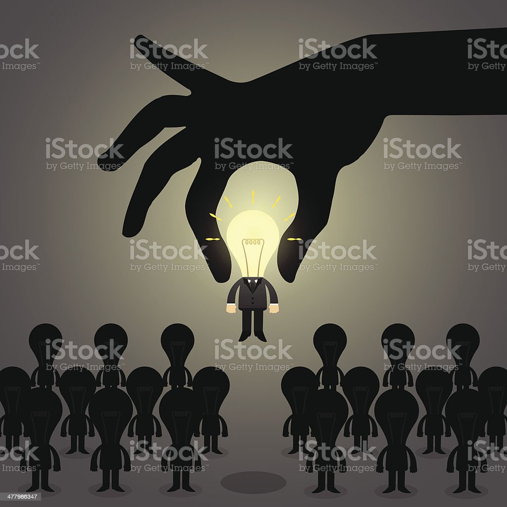 Hand pick idea Business man from a group of people. vector art illustration