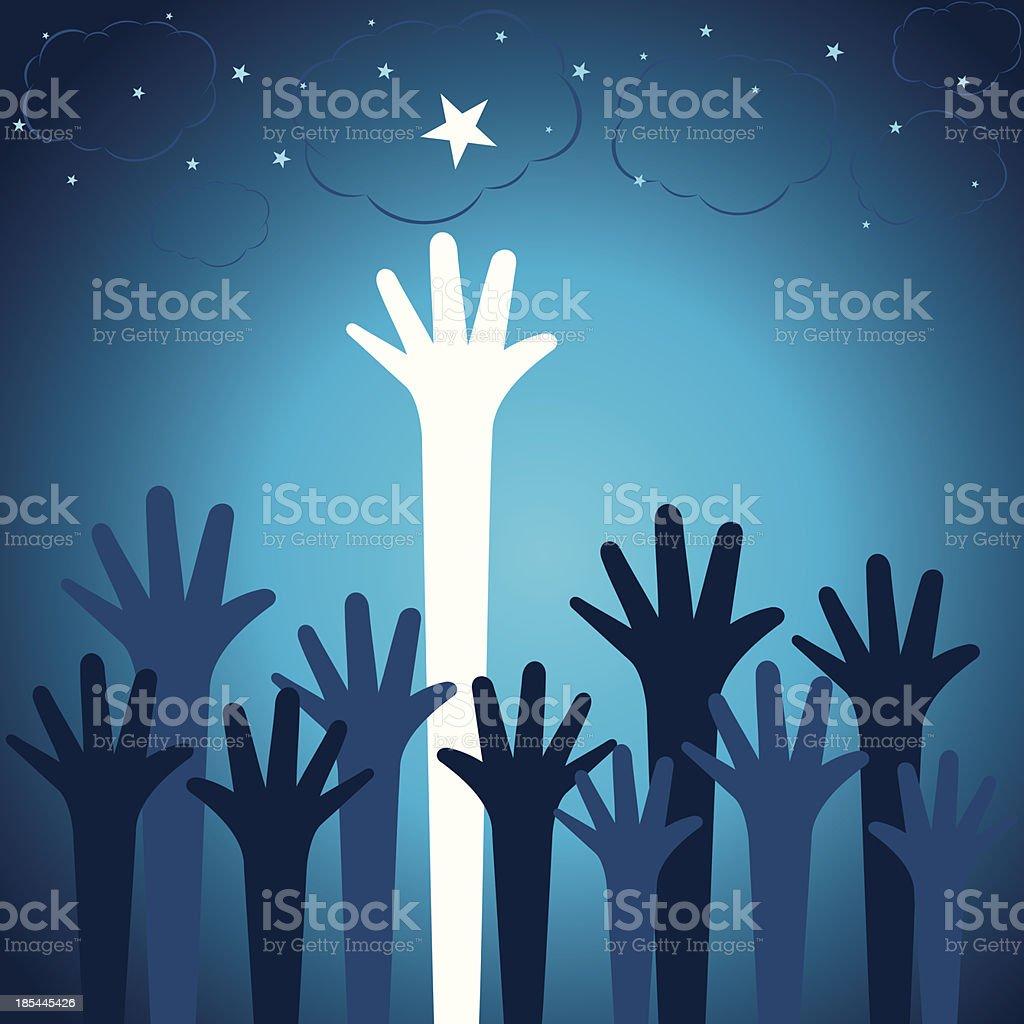 hand pick star vector art illustration