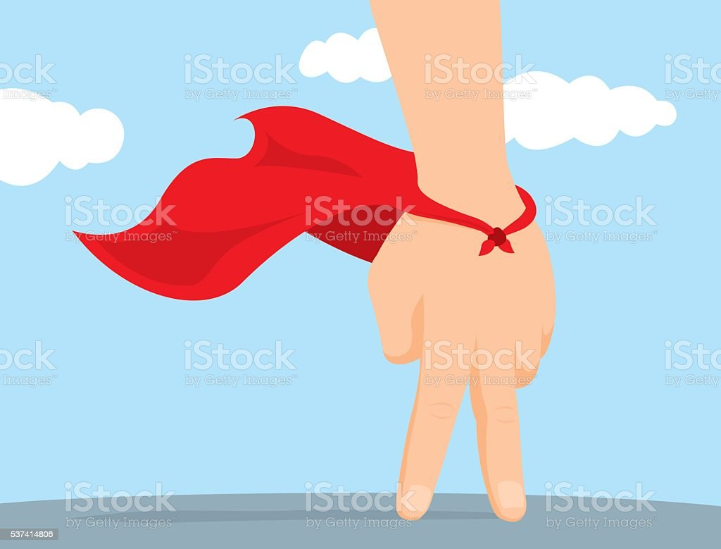Hand playing as imaginative super hero vector art illustration