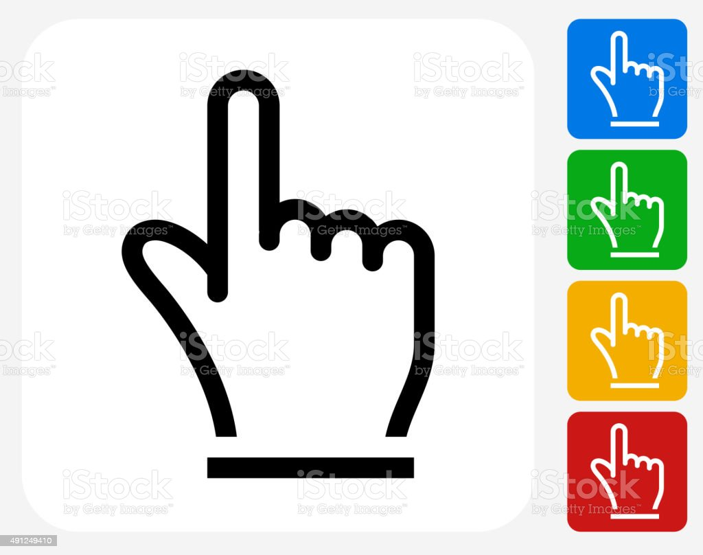 Hand Pointer Icon Flat Graphic Design vector art illustration