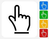 Hand Pointer Icon Flat Graphic Design