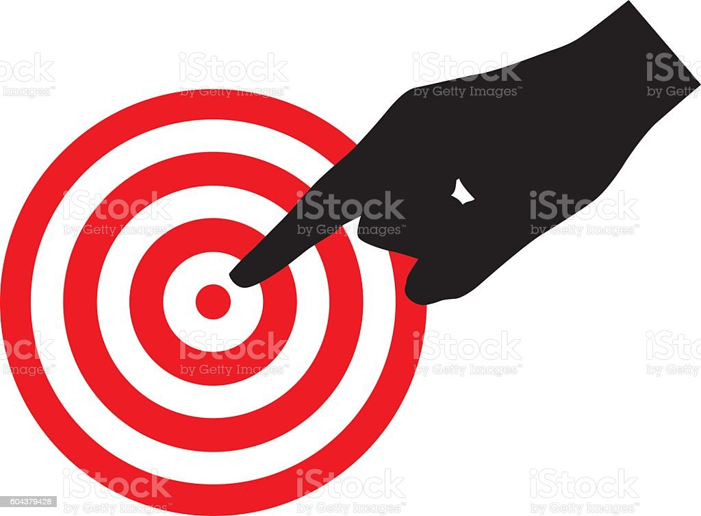 Hand Pointing Art Red Target vector art illustration