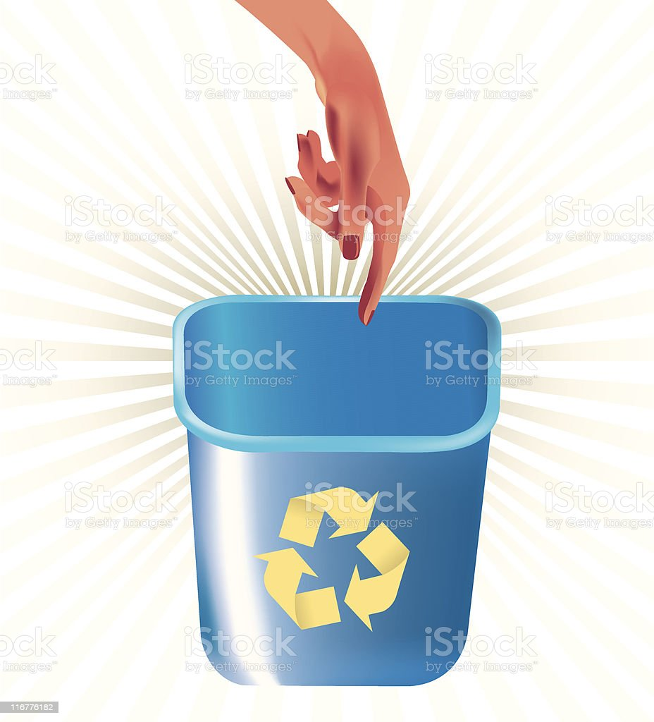 hand pointing at recycle bin vector art illustration