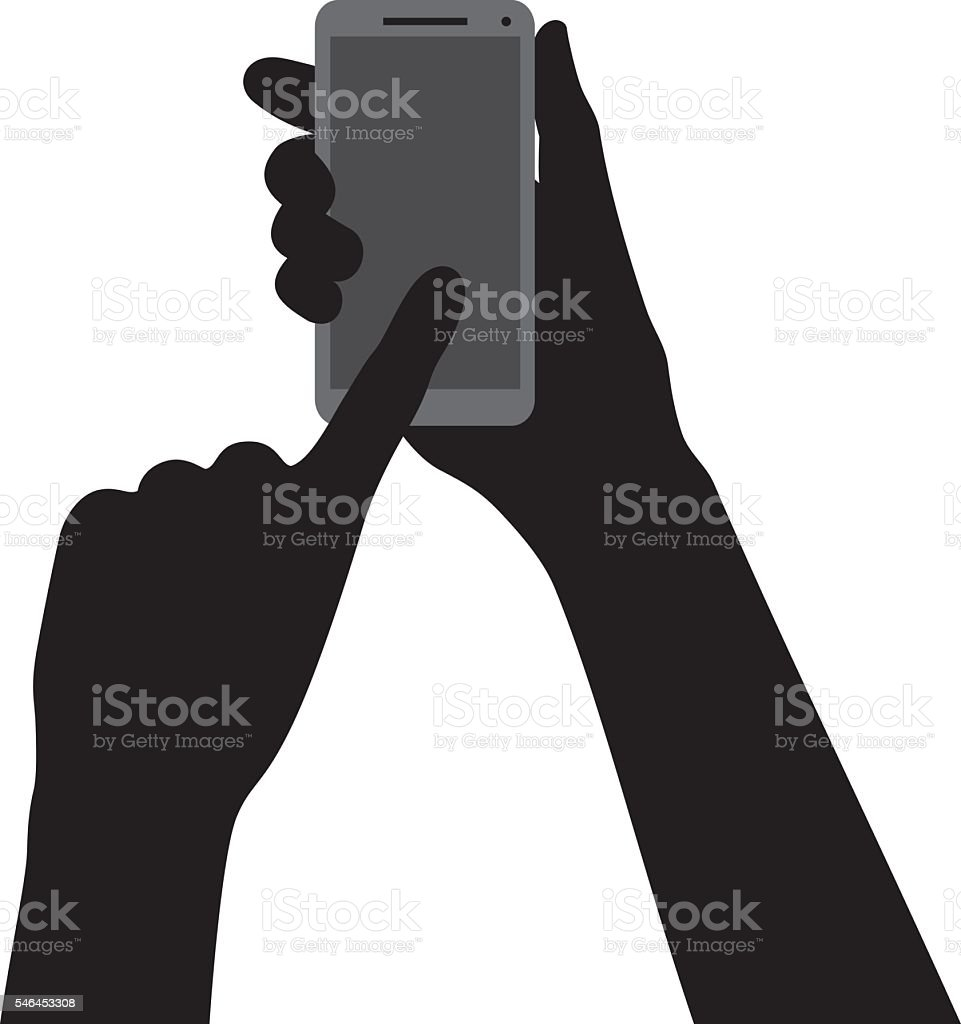 Hand Pointing at Smartphone Silhouette vector art illustration