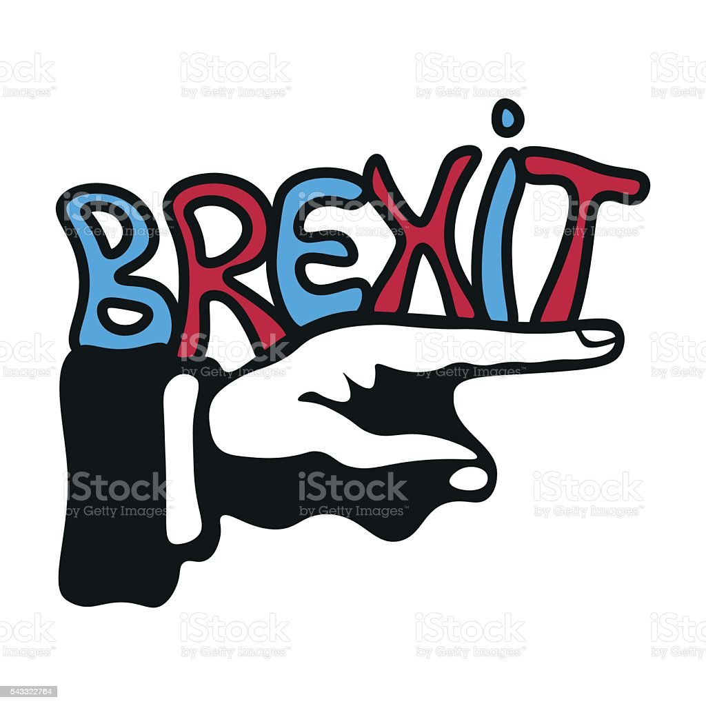 Hand pointing the Brexit direction vector art illustration