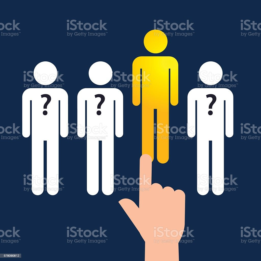 Hand Pointing To The Best Person vector art illustration