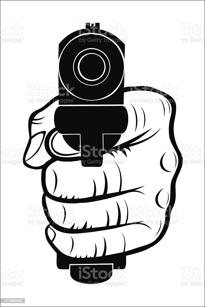 Hand pointing with the gun at you royalty-free stock vector art