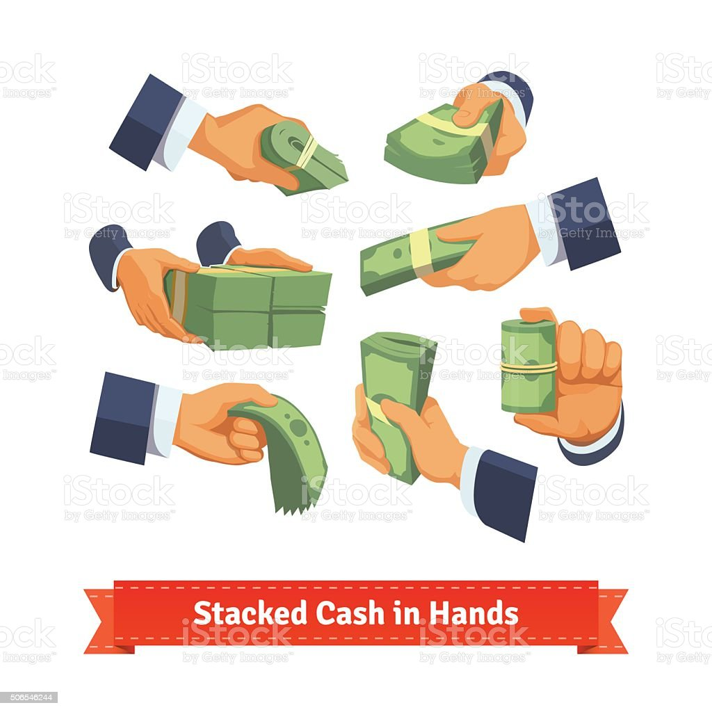 Hand poses giving, taking or showing cash stacks vector art illustration