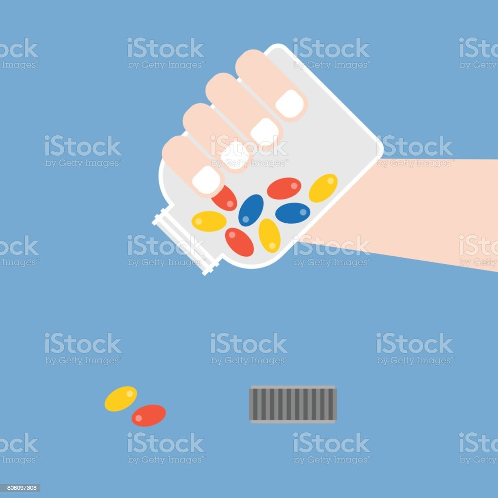 hand pouring medicine vector art illustration